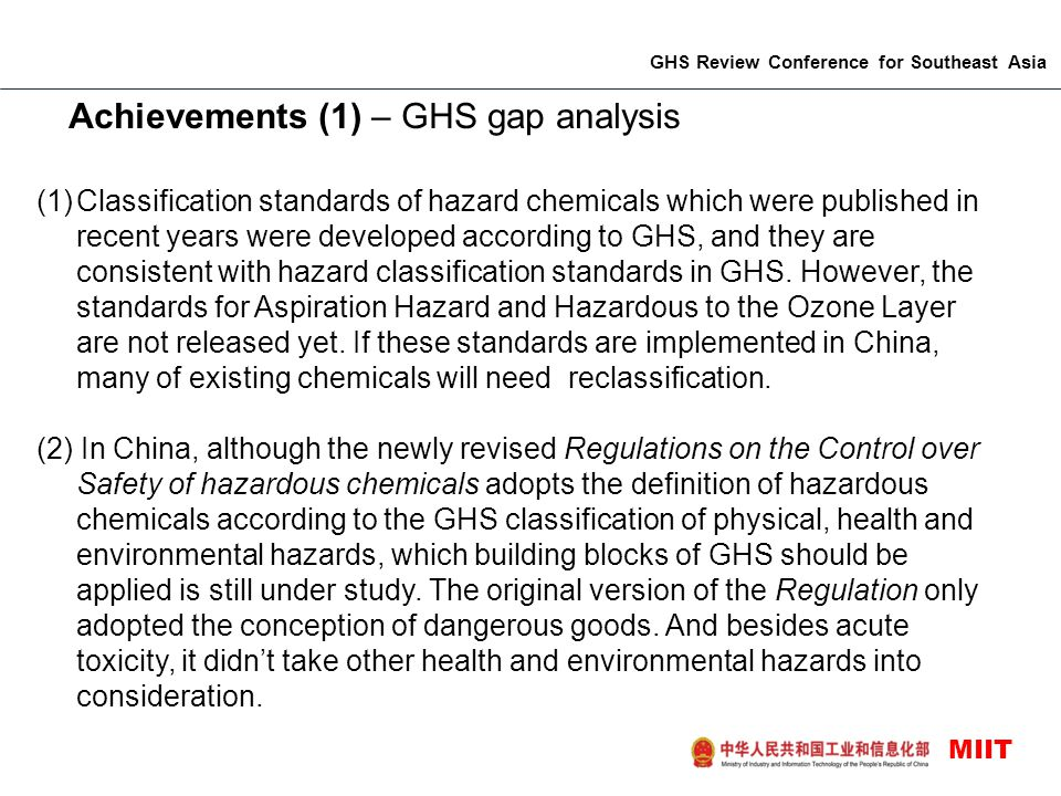 Achievements (1) – GHS gap analysis