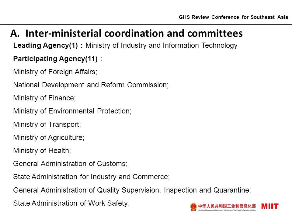 A. Inter-ministerial coordination and committees