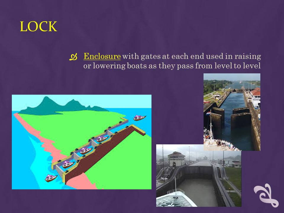 Lock Enclosure with gates at each end used in raising or lowering boats as they pass from level to level.