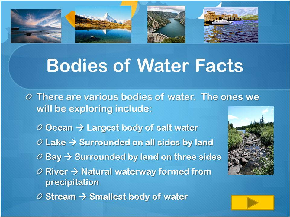 Bodies of Water Facts There are various bodies of water. The ones we will be exploring include: Ocean  Largest body of salt water.