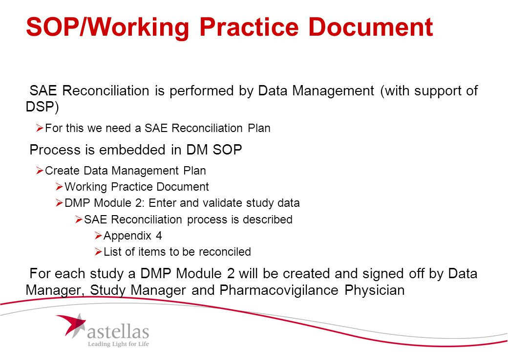 SOP/Working Practice Document
