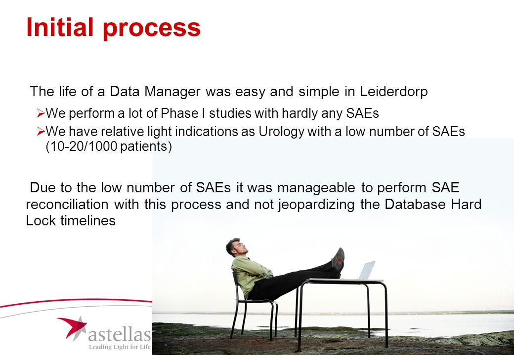 Initial process The life of a Data Manager was easy and simple in Leiderdorp. We perform a lot of Phase I studies with hardly any SAEs.