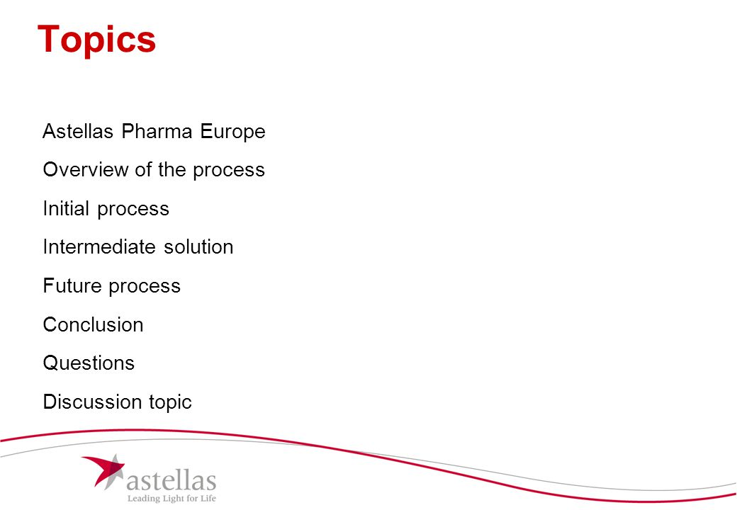 Topics Astellas Pharma Europe Overview of the process Initial process