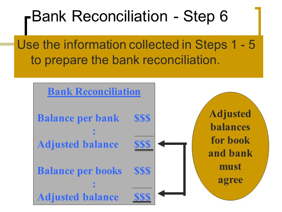 Bank Reconciliation - Step 6