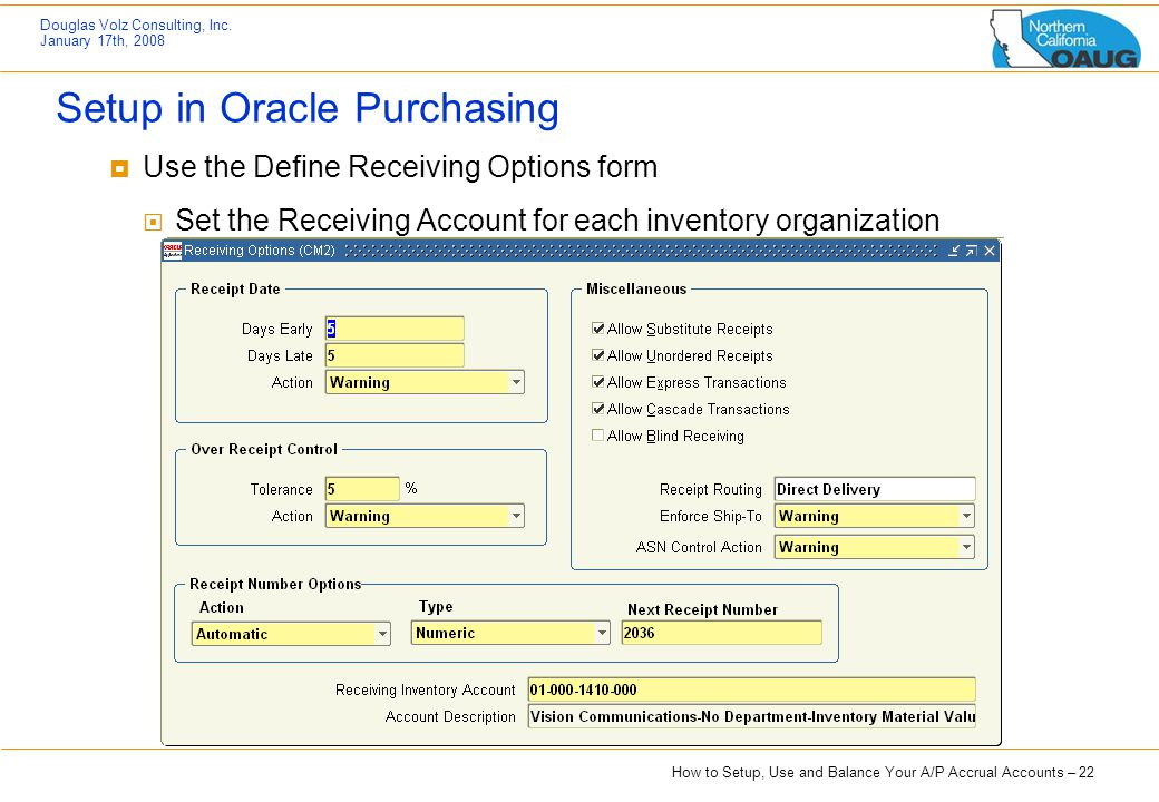 Setup in Oracle Purchasing