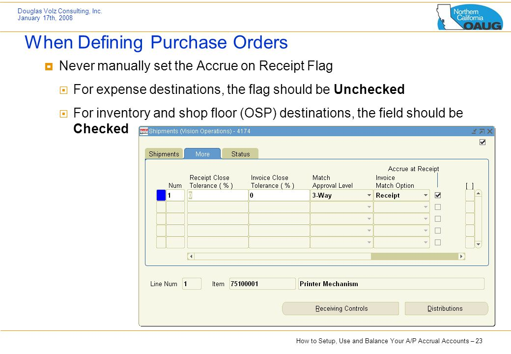 When Defining Purchase Orders