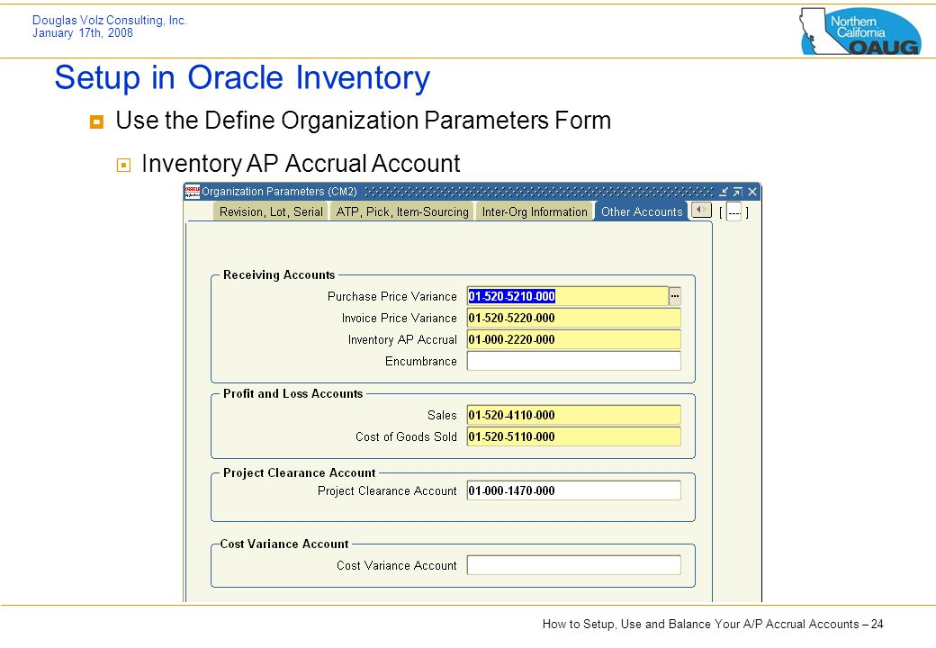 Setup in Oracle Inventory