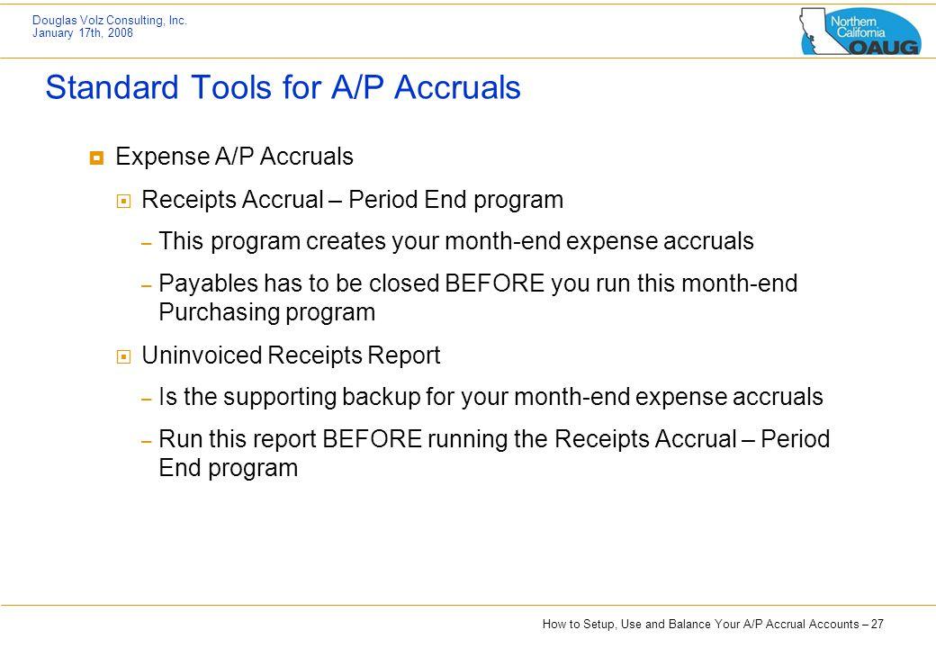 Standard Tools for A/P Accruals