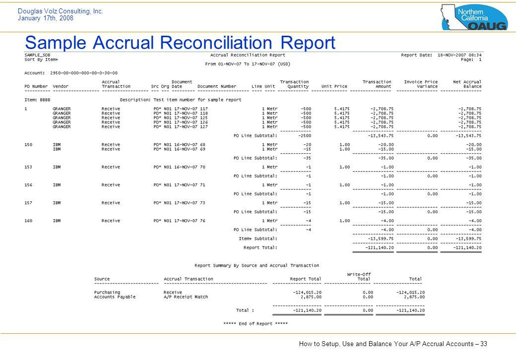 Sample Accrual Reconciliation Report