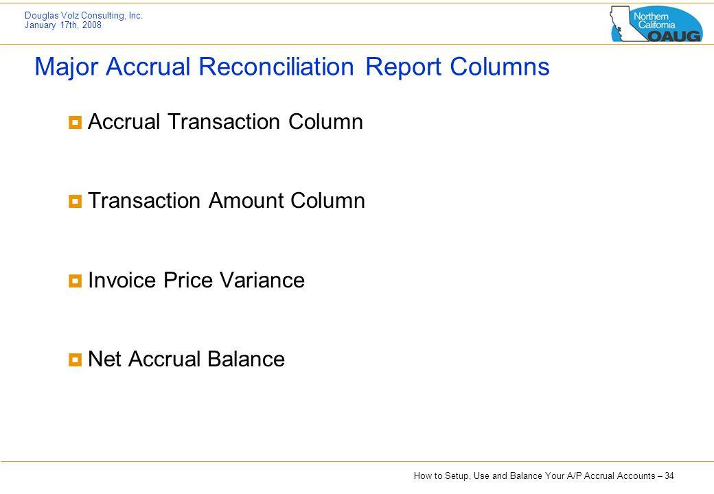 Major Accrual Reconciliation Report Columns