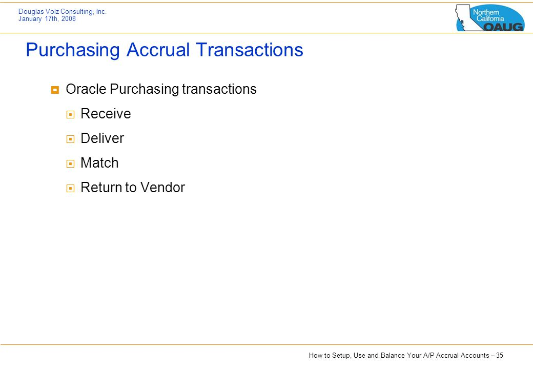 Purchasing Accrual Transactions
