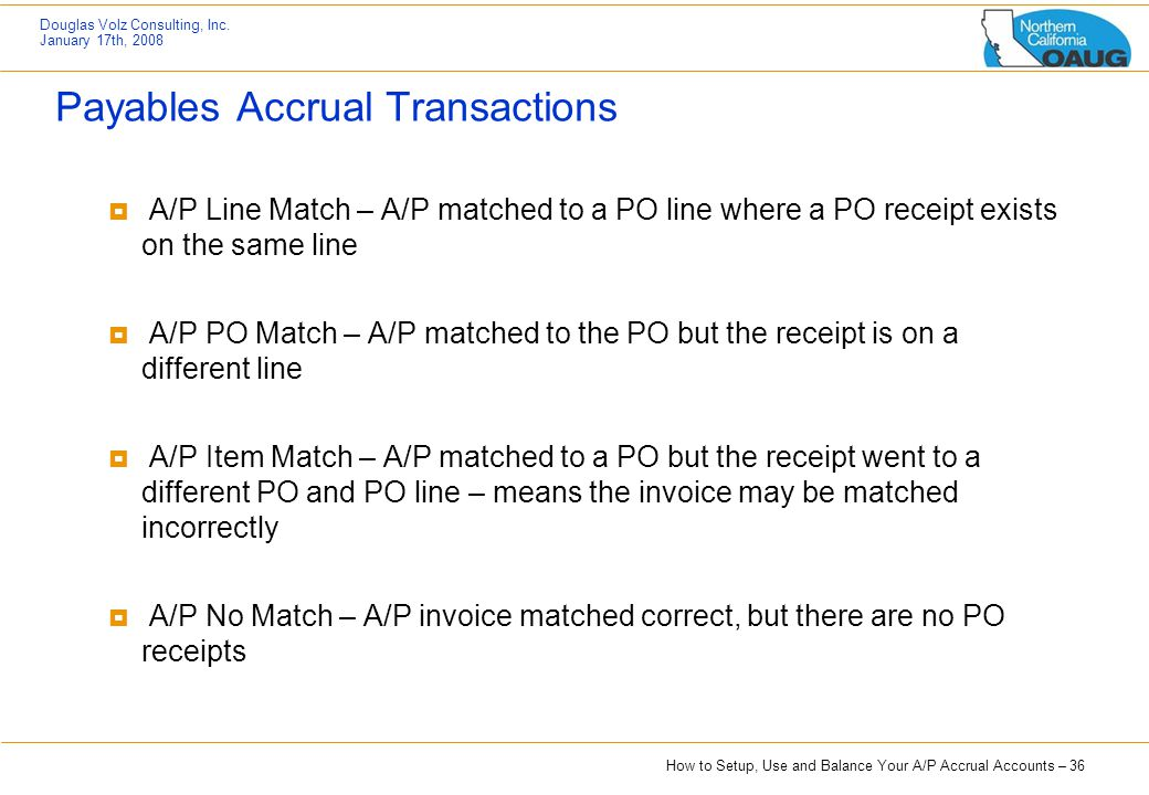 Payables Accrual Transactions