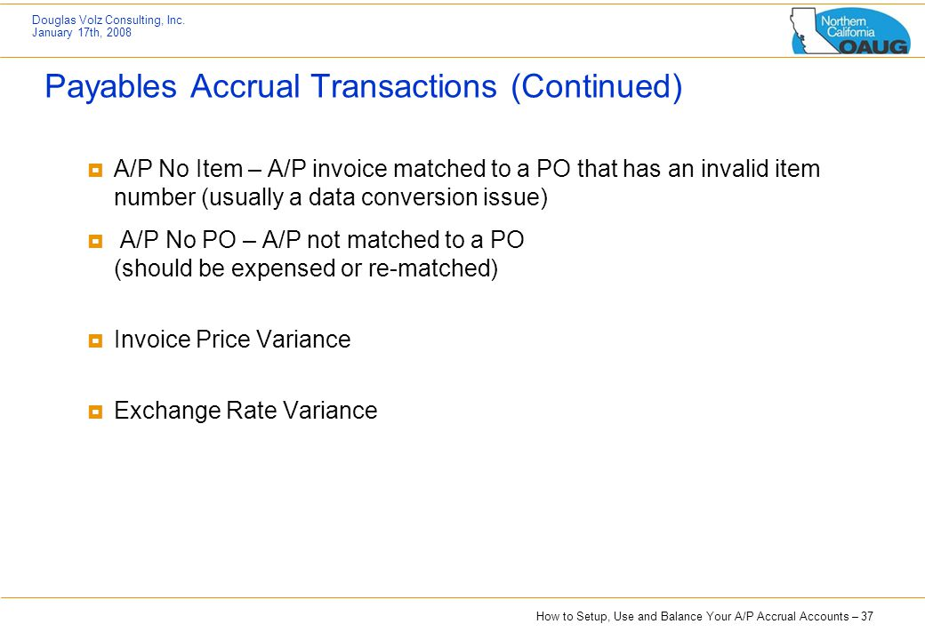 Payables Accrual Transactions (Continued)