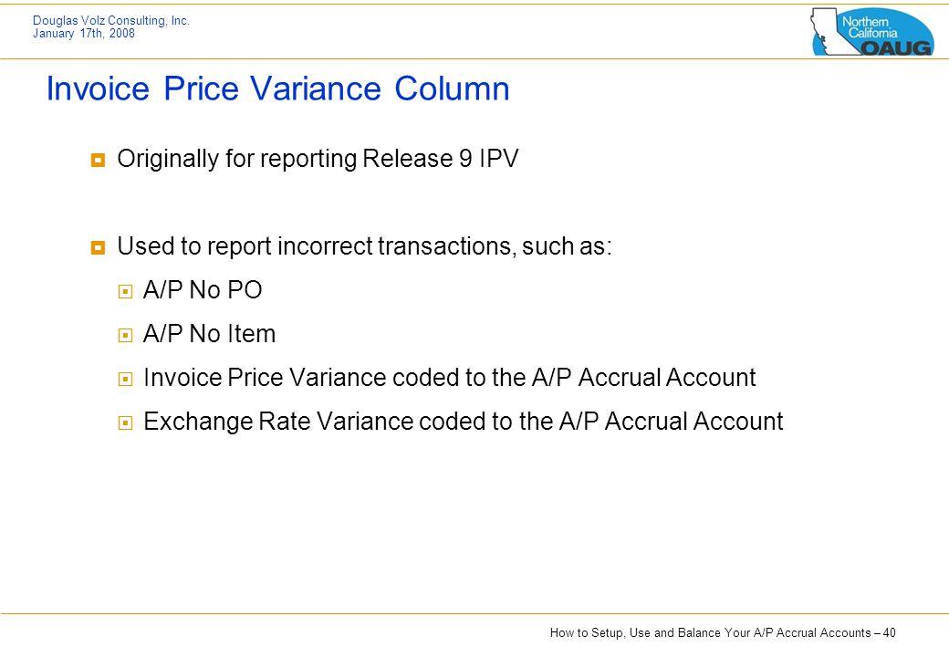 Invoice Price Variance Column