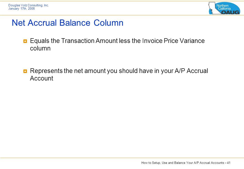 Net Accrual Balance Column