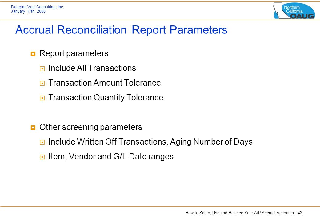 Accrual Reconciliation Report Parameters