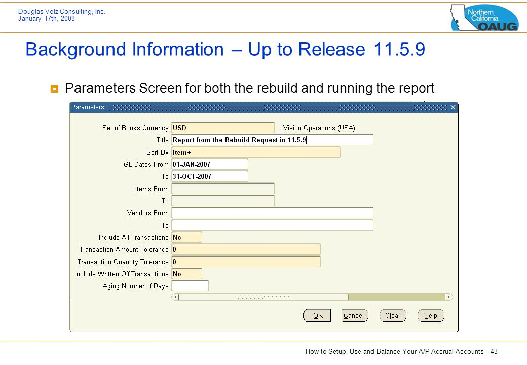 Background Information – Up to Release 11.5.9