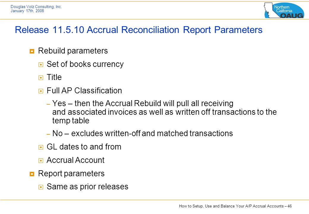 Release 11.5.10 Accrual Reconciliation Report Parameters