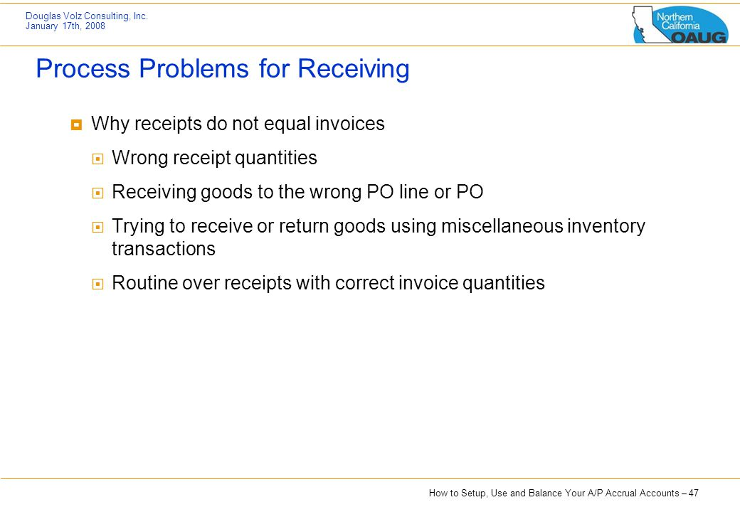 Process Problems for Receiving
