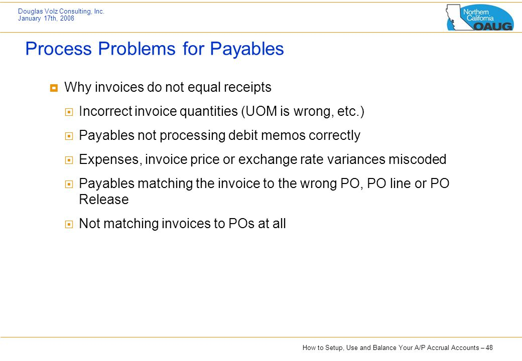 Process Problems for Payables