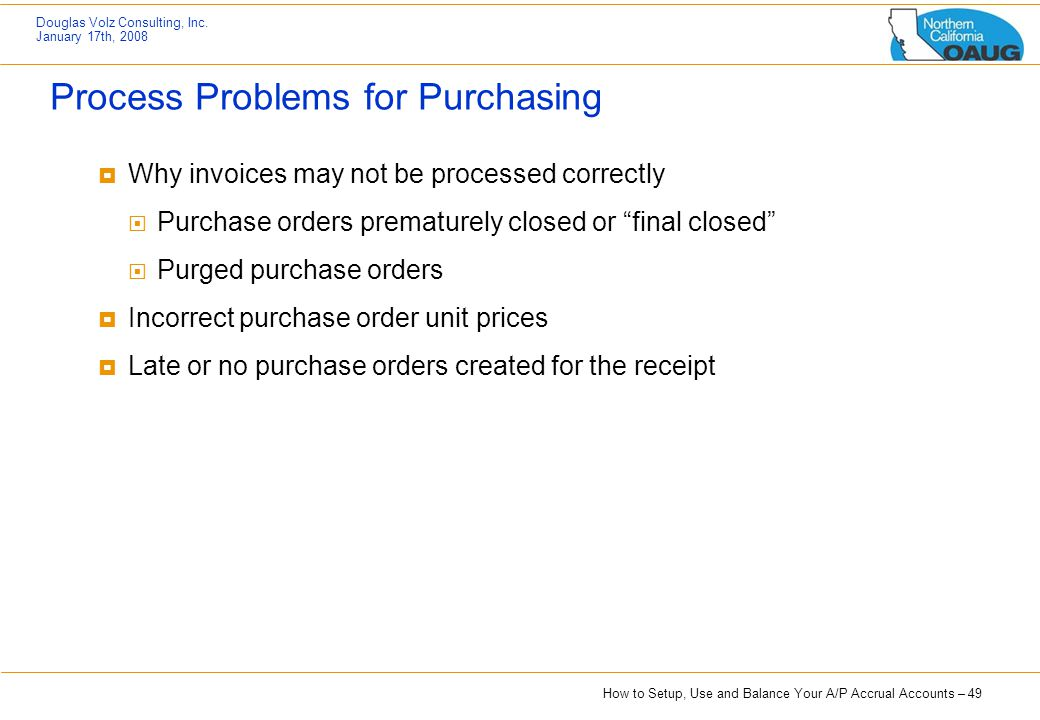 Process Problems for Purchasing