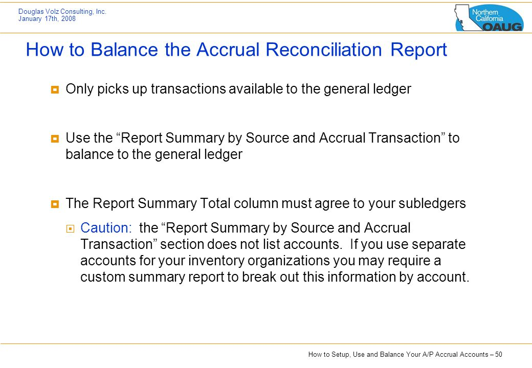 How to Balance the Accrual Reconciliation Report