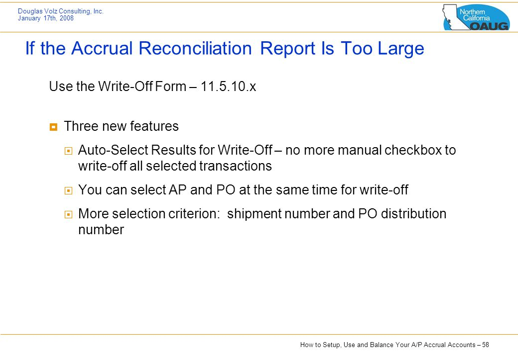 If the Accrual Reconciliation Report Is Too Large