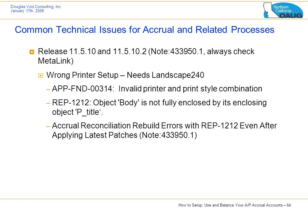 Common Technical Issues for Accrual and Related Processes
