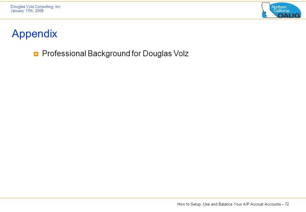 Appendix Professional Background for Douglas Volz