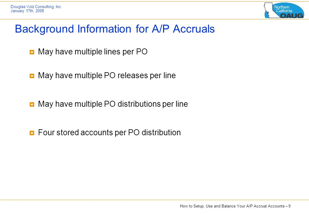 Background Information for A/P Accruals