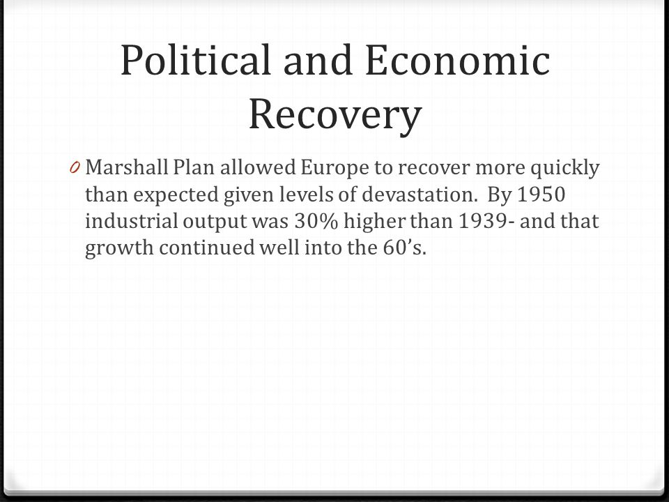 Political and Economic Recovery