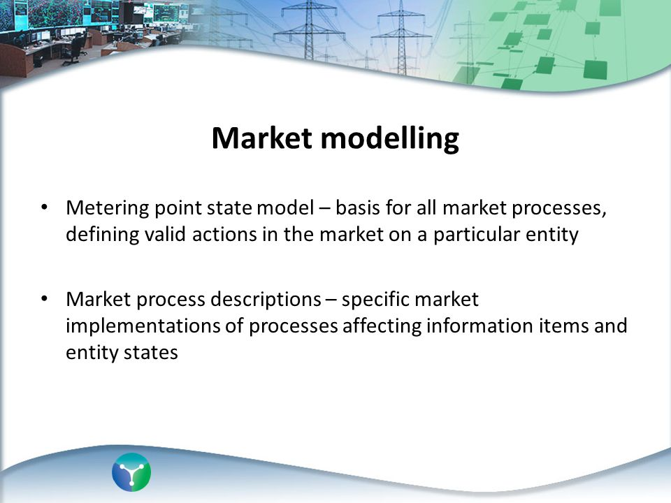 Market modelling Metering point state model – basis for all market processes, defining valid actions in the market on a particular entity.