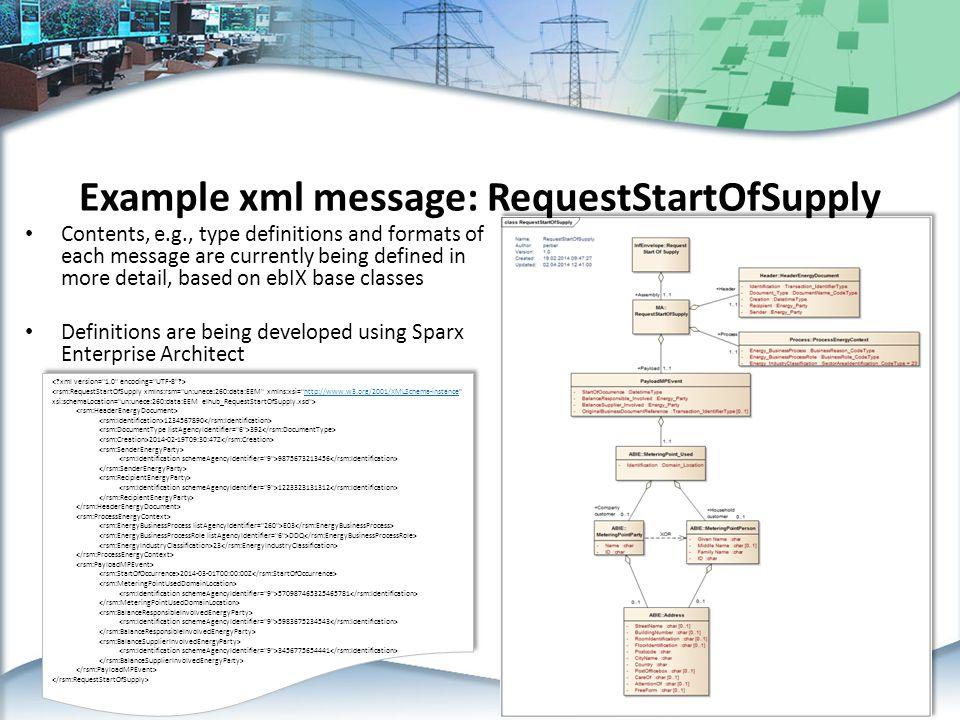 Example xml message: RequestStartOfSupply