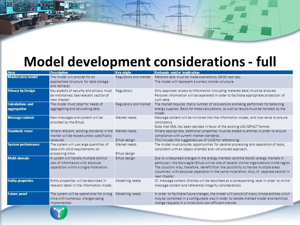 Model development considerations - full
