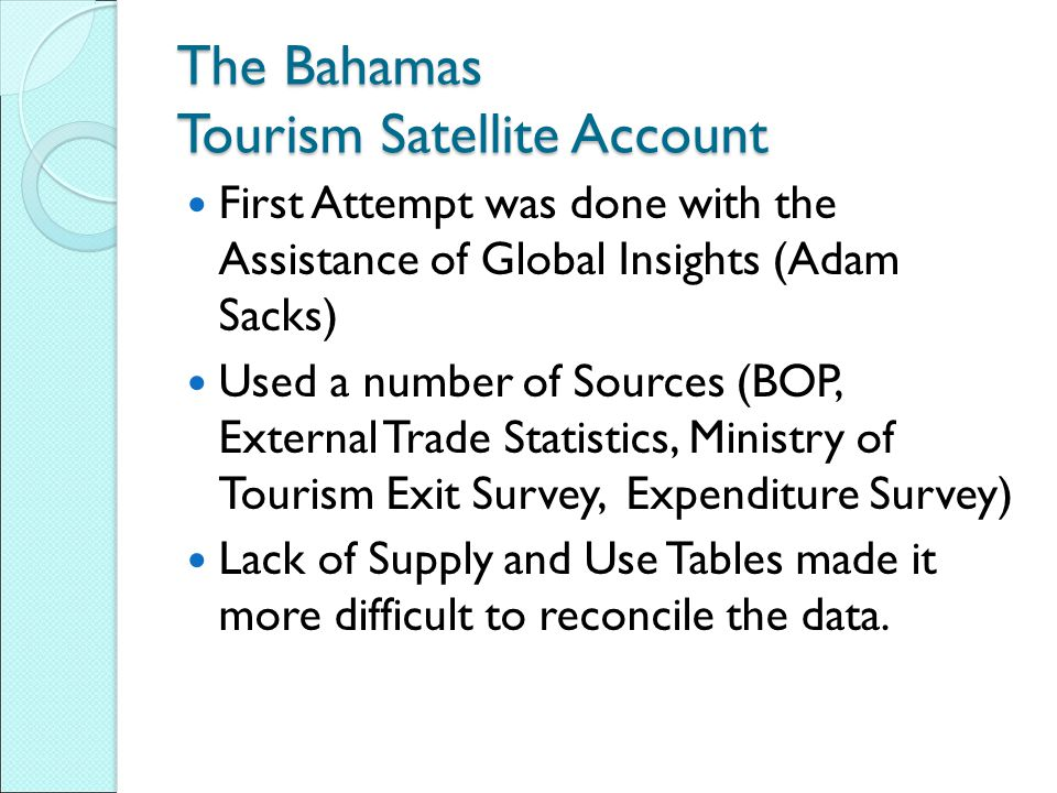 The Bahamas Tourism Satellite Account