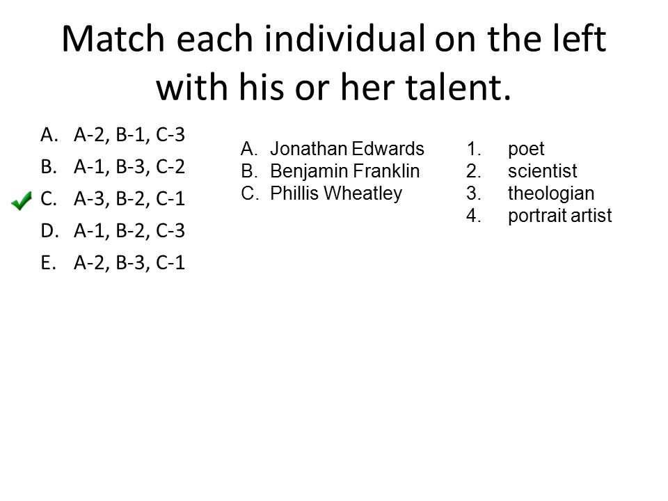 Match each individual on the left with his or her talent.