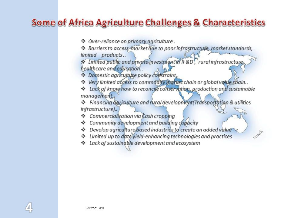 Some of Africa Agriculture Challenges & Characteristics