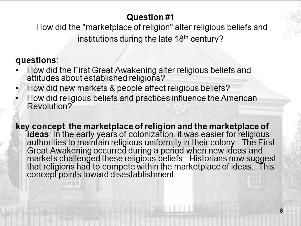 How did the First Great Awakening alter religious beliefs and attitudes about established religions