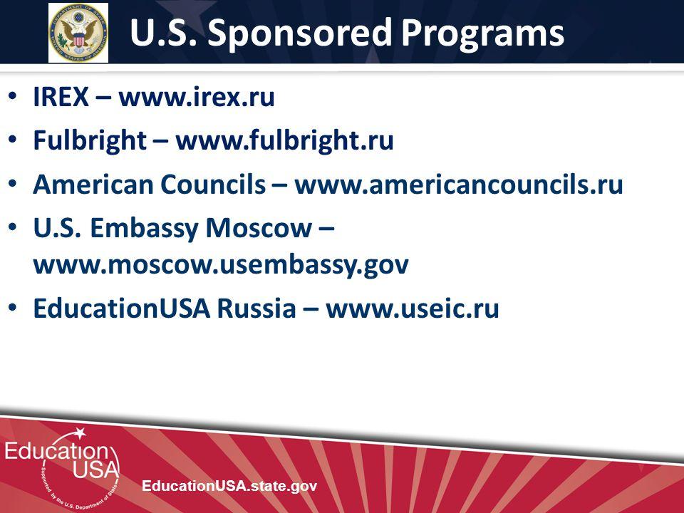 U.S. Sponsored Programs IREX – www.irex.ru
