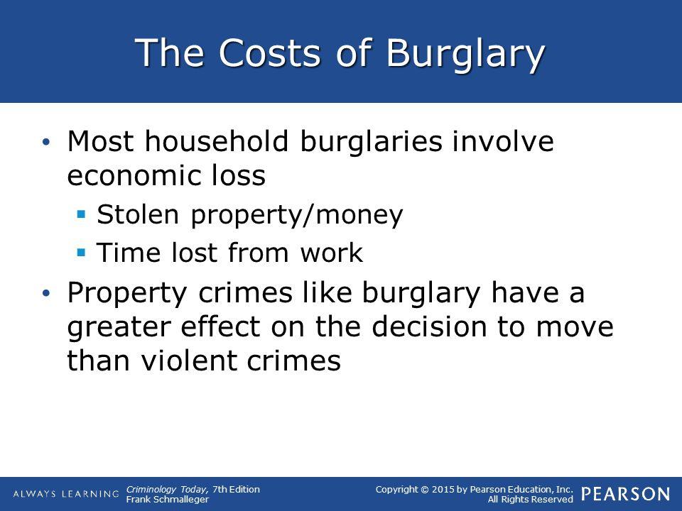 The Costs of Burglary Most household burglaries involve economic loss