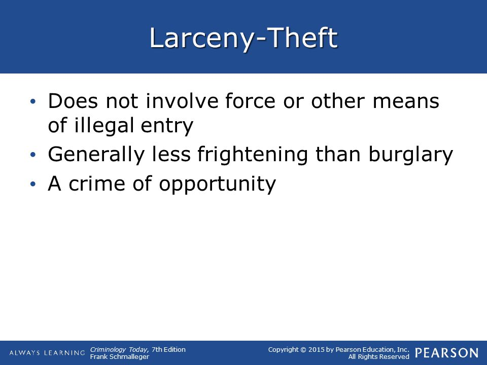 Larceny-Theft Does not involve force or other means of illegal entry