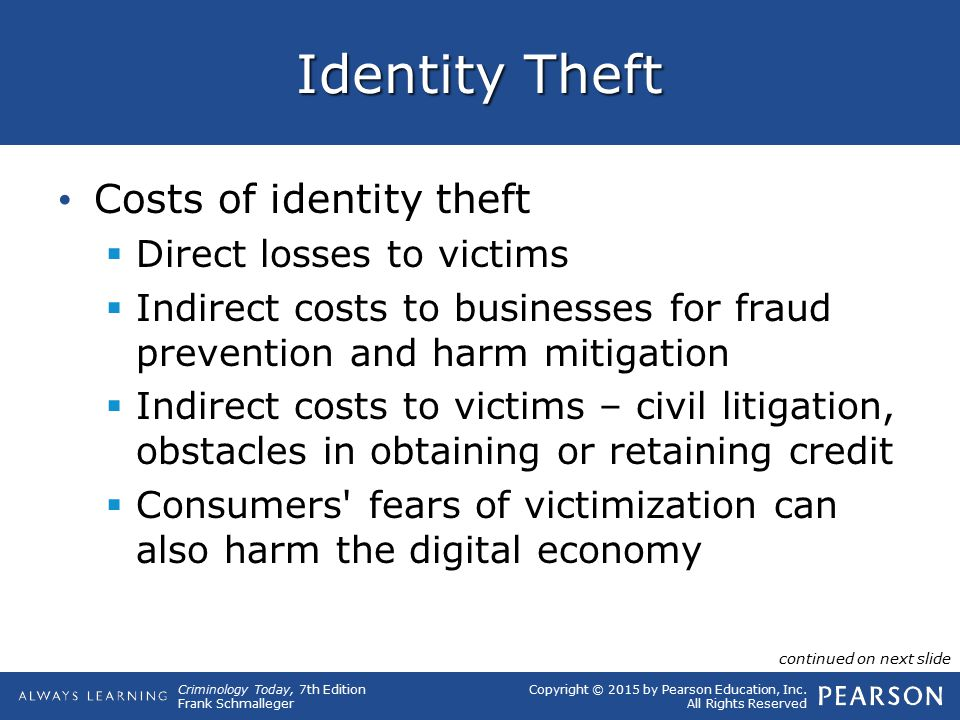 Identity Theft Costs of identity theft Direct losses to victims