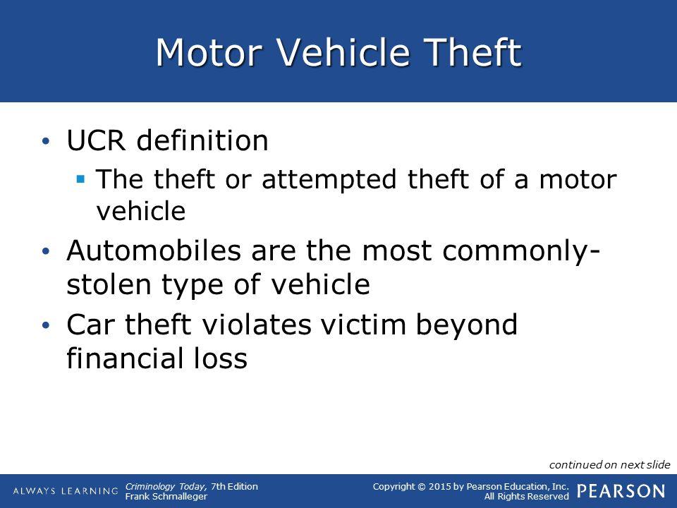 Motor Vehicle Theft UCR definition