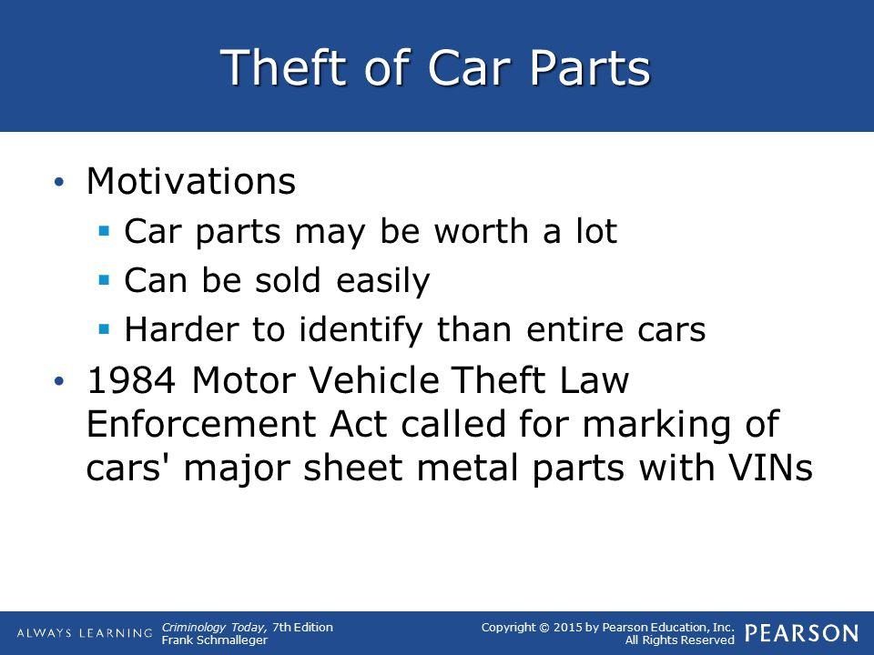 Theft of Car Parts Motivations