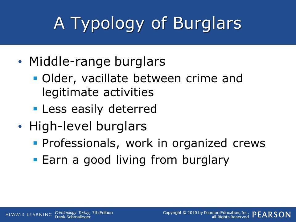 A Typology of Burglars Middle-range burglars High-level burglars