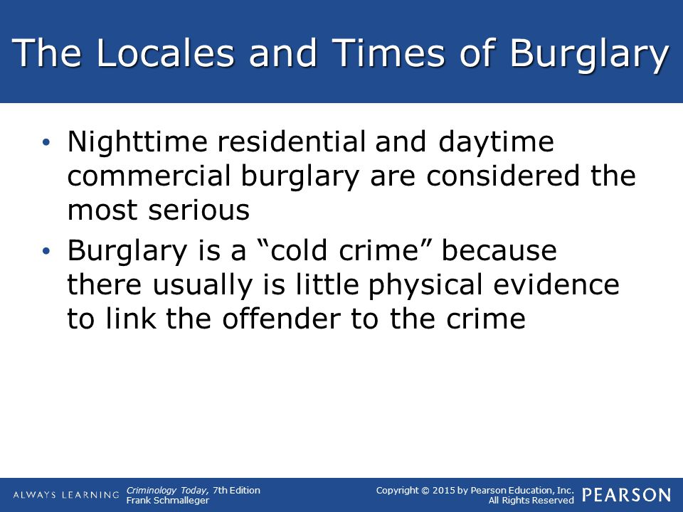 The Locales and Times of Burglary