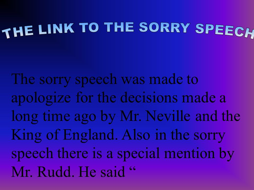 THE LINK TO THE SORRY SPEECH
