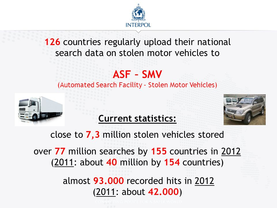 126 countries regularly upload their national search data on stolen motor vehicles to
