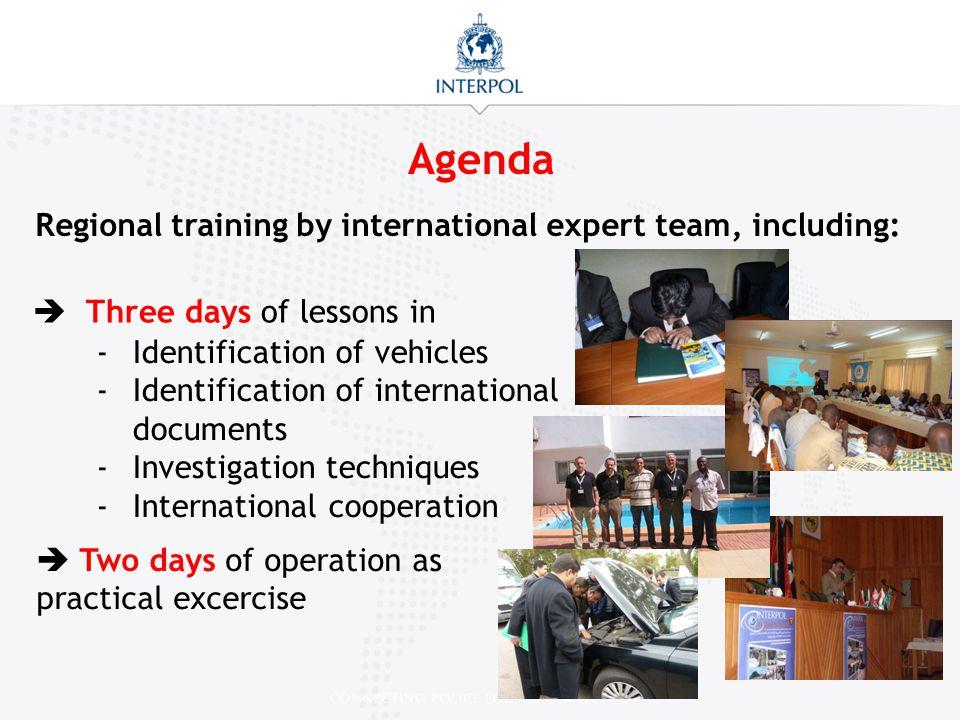 Agenda Regional training by international expert team, including: