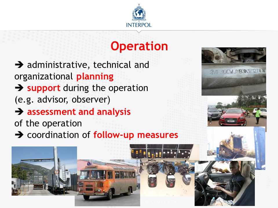 Operation  administrative, technical and organizational planning